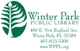 Find out more about Winter Park Public Library: Library website, hours, locations, catalog, Inter-Library Loan, Genealogy Information, etc